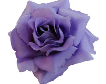 Purple Rose flower Hair Clip 4 Inch.