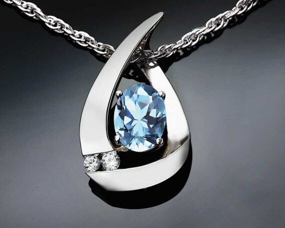 aquamarine necklace, March birthstone, aqua pendant, gemstone jewelry, blue, wedding necklace, white sapphires, Argentium silver - 3378
