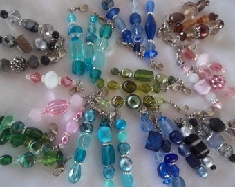 Set of Three Beaded Zipper Pulls / Purse Charm / Bag Fob / Purse Jewelry