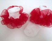Red Sheer Organza Ruffled Ribbon Socks