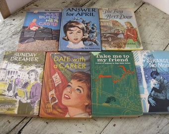 mid century teen novels set of 7 with book jackets great graphics photo prop instant collection