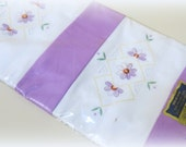RESERVED for Linda  -  NEW Vintage Machine Embroidered Pillowcase Set