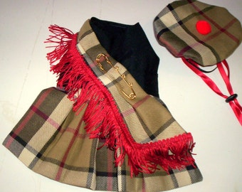 Dog Harness Kilt in Glasgow Acorn Tartan with Hat and Scarf