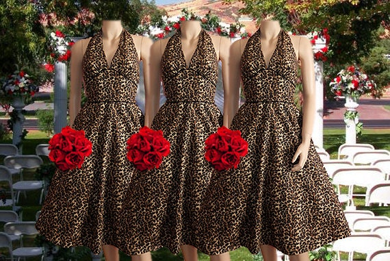 Leopard Rock 'n Roll Rockabilly Bridesmaid Dress