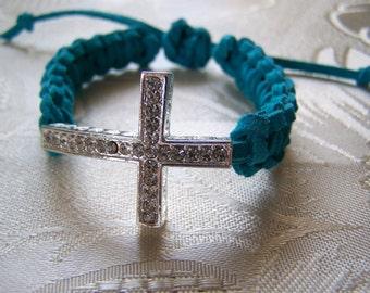 Sideways Cross Bracelet Pave Turquoise Suede Macrame Clearance Sale