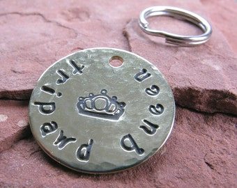 Tripawd Queen Brass Dog or Cat Pet Tag, Customized