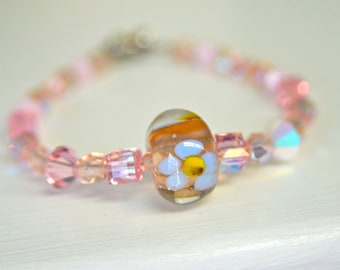 Pink Crystal and Handmade Glass Bead Bracelet - Valentines Day