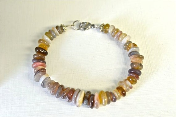 Mens Agate Bracelet with Botswana Agates and Stainless Steel Clasp from North Atlantic Art Studio Bath, Maine