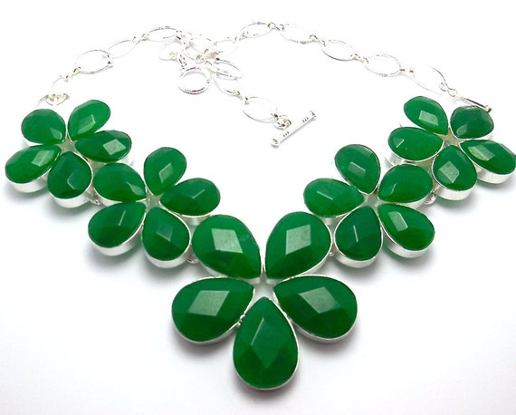 Emerald Quartz Necklace in solid .925 Sterling Silver, 128 grams, 20' adjustable with barrow clasp