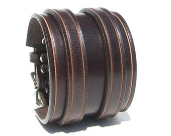 Wide Brown leather wrist cuff with 2 buckles