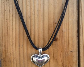 Silver Heart on Black Strands