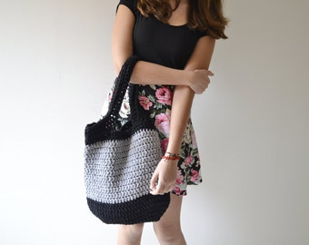 Summer Bag Crochet MADE TO ORDER bag  Black Grey Tote for Beach and Market