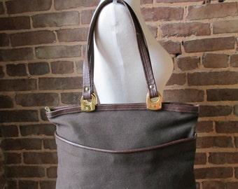Vintage Large Dark Brown Tote, Shoulder Bag, Purse,1980s