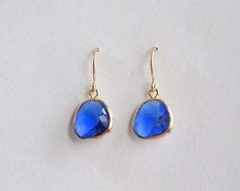 Cobalt Blue Earrings | Cobalt & Gold Earrings | Blue and Gold Earrings | Holiday Earrings