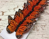 Feather Butterflies -12 Monarch Butterfly Embellishments in Orange and Black - Artificial Butterflies
