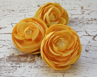 Silk Flowers - THREE Yellow Silk Ranunculus Flowers - 2.75 - 3 Inches - Artificial Flowers