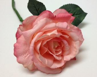 1 Jumbo Peachy Pink Silk Rose ON STEM - Rose Spray, Artificial Flower, Silk Flower, Wedding, Millinery