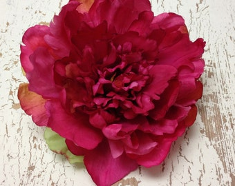 Silk Flowers - One FUCHSIA Peony - 6 Inches - Artificial Flowers
