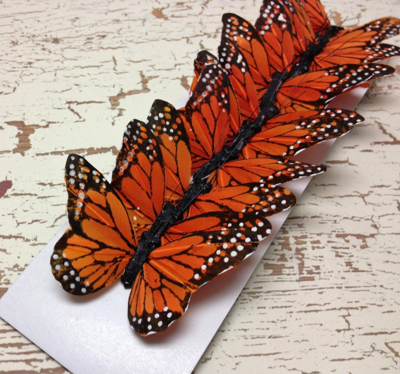 Feather Butterflies 12 Monarch Butterfly Embellishments In