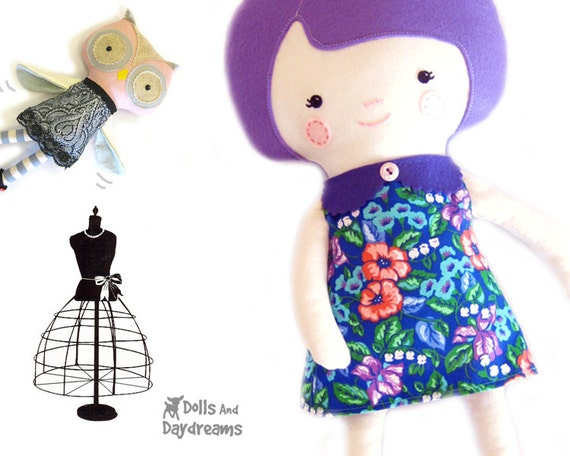 Retro Doll Dress PDF Sewing Pattern Vintage Style Easy Toy Outfit