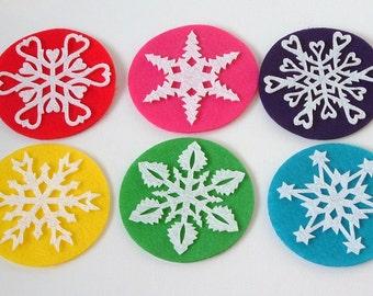 Lot of 6 Snowflakes and Circles
