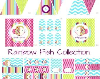 Rainbow Fish Birthday Party, Fish Baby Shower, Fish Birthday Decorations, Fish Baby Shower Decorations, Fish Party Decorations