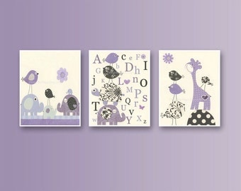 Baby Girl Nursery Decor, Girl Nursery Wall Art, Baby Girl Room Decor // Set of 3 prints Wall Art Prints // Purple Nursery Wall Art Decor