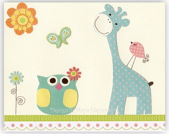 Kids Room Decor Nursery Art owl bird giraffe ..Sunny Day Outside