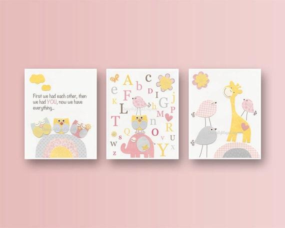Baby girl room ideas nursery wall art print for girls baby for Baby girl nursery paintings