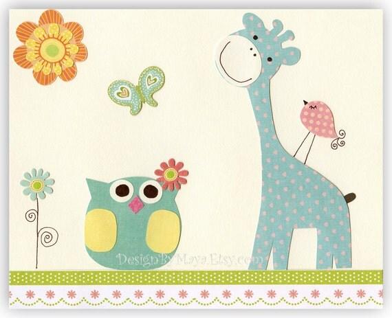 Kids Room Decor Nursery Art Owl Bird Giraffe Sunny Day