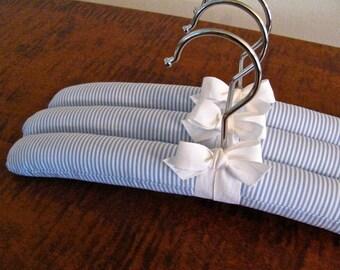 Baby Boy Hangers, Boy Stripe Hangers, Organic Ribbon, Baby Boy Shower Gift, Boy Clothing Hangers, Boy Blue Stripe Hanger Set of 3, Boy Stuff