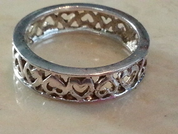 Vintage Sterling Silver Heart Band Ring 1980s Wedding Anniversary Band Love 925 Women Cutout Design