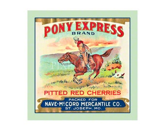 Small Blank Journal - Pony Express Cherries - Fruit Crate Art Print Cover