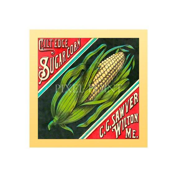 Garden Journal Gilt Edge Corn Fruit Crate Art Print Cover