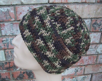 CAMO Beanie - Mens Hat Size Large - Hand Crocheted - Soft Acrylic Yarn - Handmade - Warm Winter Cap - Fold-up Style - Ready to Ship