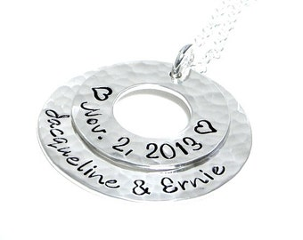 Personalized Washer Necklace - Hand Stamped Sterling Silver Jewelry