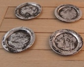 Set of 4 miniature old battered Tudor pewter plates 12th scale