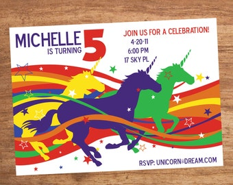 Unicorn Rainbow Custom Party Invitation