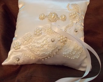 ring bearer pillow hand embroided white satin and pearls