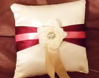 white with flower satin ring bearer pillow