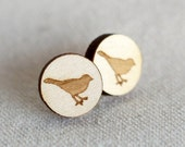 Birds of a Feather Laser Engraved Wooden Studs