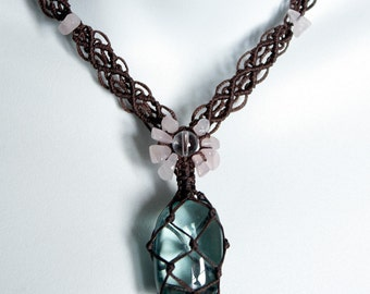 Green Obsidian Crystal and Rose Quartz Handwoven Macrame Necklace