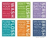 FULL SET of 6 Bathroom art prints. Bathroom Rules. Kids bathroom wall quotes. Wash Brush Floss Flush. Typography. Prints by WallFry