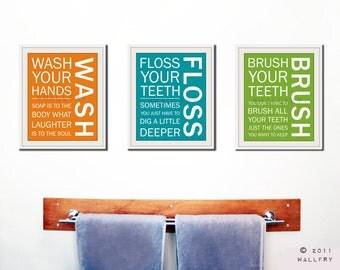 Kids bath wall art. Bathroom rules. Bathroom prints Wash Brush Floss Flush. Typography. SET OF 3 prints bathroom signs