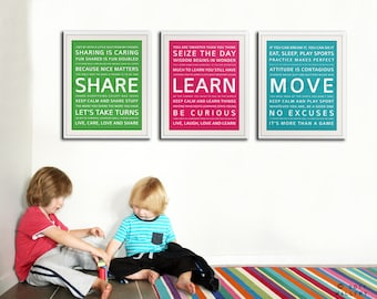 Playroom Wall Decor childrens art for kids. inspiration typography prints