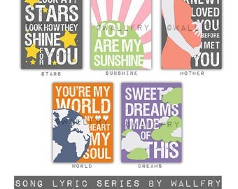 Kids wall art. Song Lyric prints for nursery and playroom. Children artwork print nursery decor. SET OF ANY 4 song lyric prints by WallFry