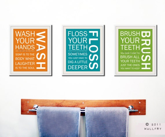 Kids bath wall art. Bathroom rules. Bathroom prints Wash Brush Floss Flush. Typography. SET OF 3 prints bathroom signs
