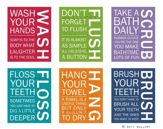 FULL SET of 6 Bathroom art prints. Bathroom Rules. Kids bathroom wall quotes. Wash Brush Floss Flush. Typography. Prints by WallFry