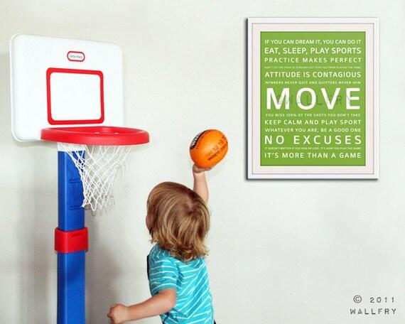 Playroom wall art, playroom prints. Inspirational typography MOVE. Subway word art for kids. Art print by WallFry