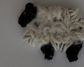 Hairband Black face sheep  felted crochet on a satin covered Alice band.